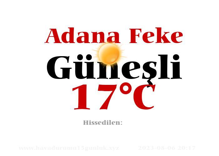 Hava Durumu Adana Feke