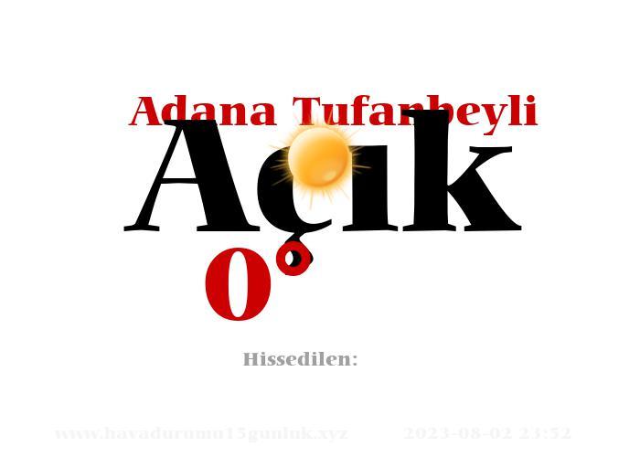 Adana Tufanbeyli Hava Durumu