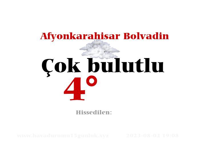 Afyonkarahisar Bolvadin Hava Durumu