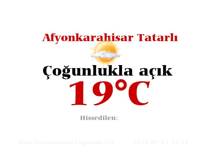 Hava Durumu Afyonkarahisar Tatarlı