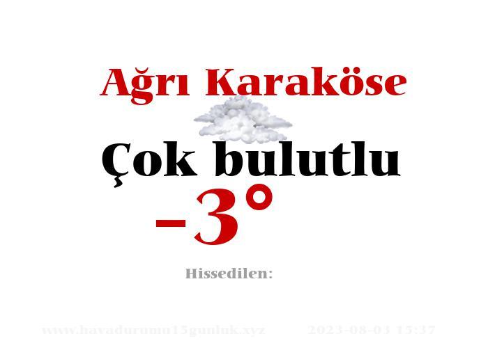 Ağrı Karaköse Hava Durumu