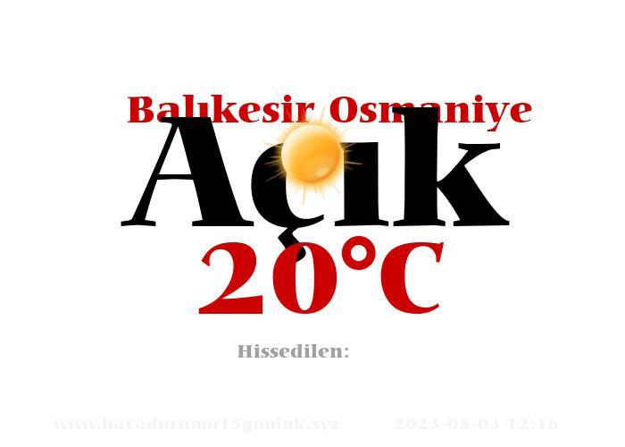 Hava Durumu Balıkesir Osmaniye