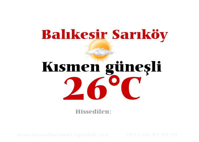 Hava Durumu Balıkesir Sarıköy
