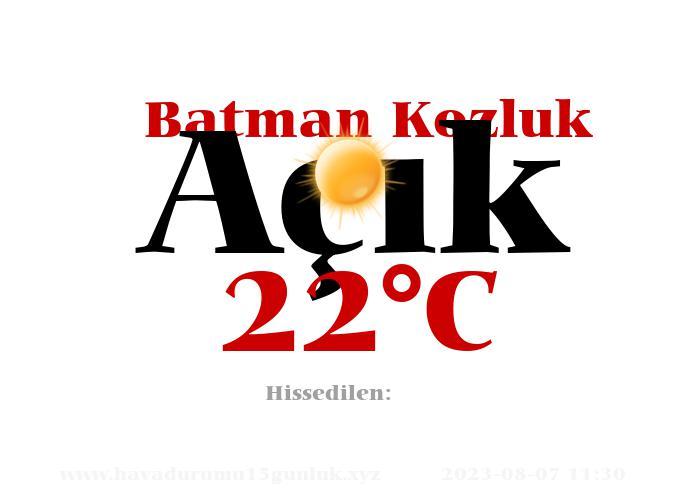 Hava Durumu Batman Kozluk