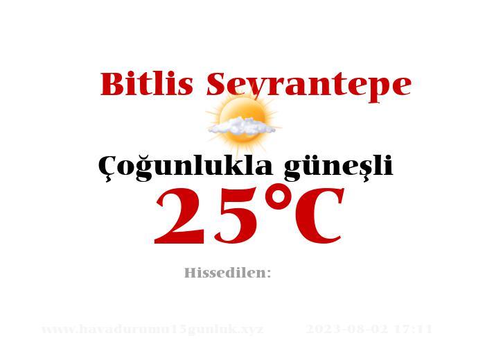 Hava Durumu Bitlis Seyrantepe