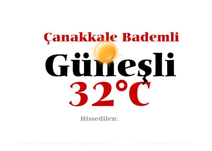 Hava Durumu Çanakkale Bademli
