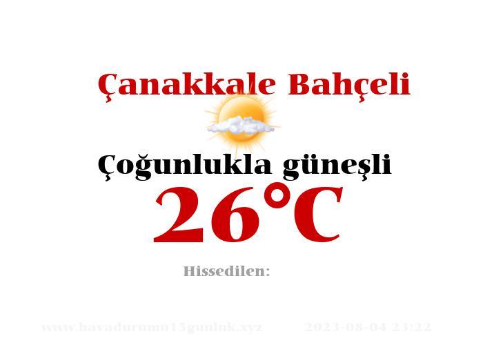 Hava Durumu Çanakkale Bahçeli