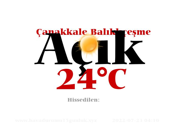 Hava Durumu Çanakkale Balıklıçeşme