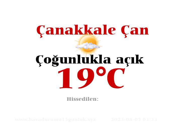 Hava Durumu Çanakkale Çan