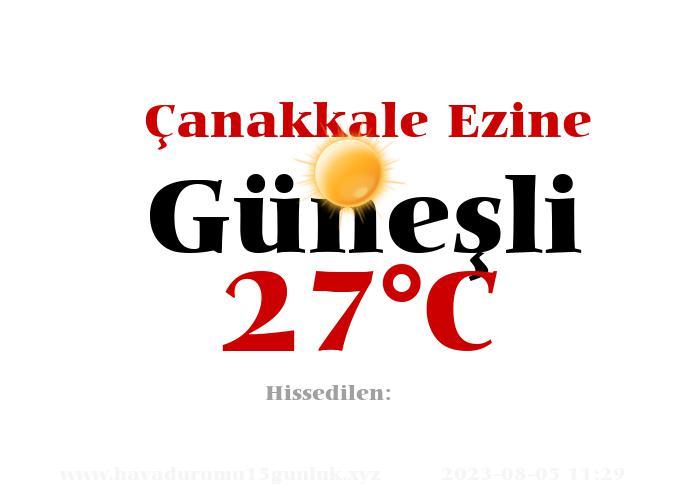 Hava Durumu Çanakkale Ezine