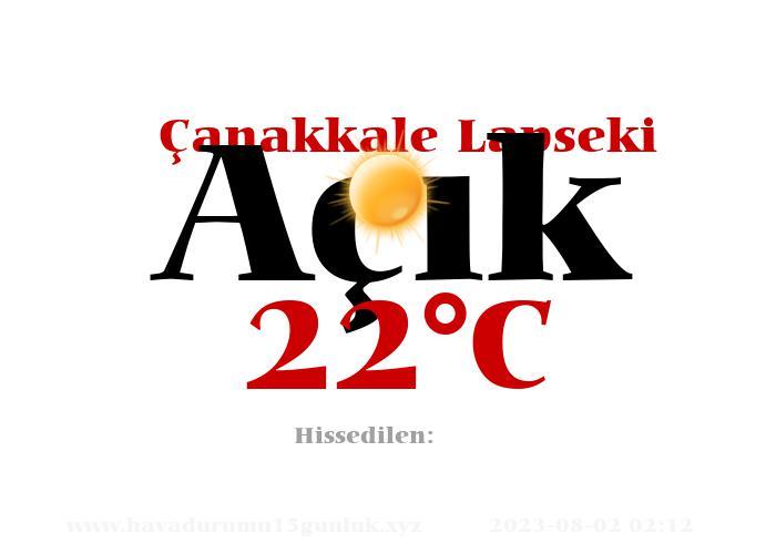 Hava Durumu Çanakkale Lapseki