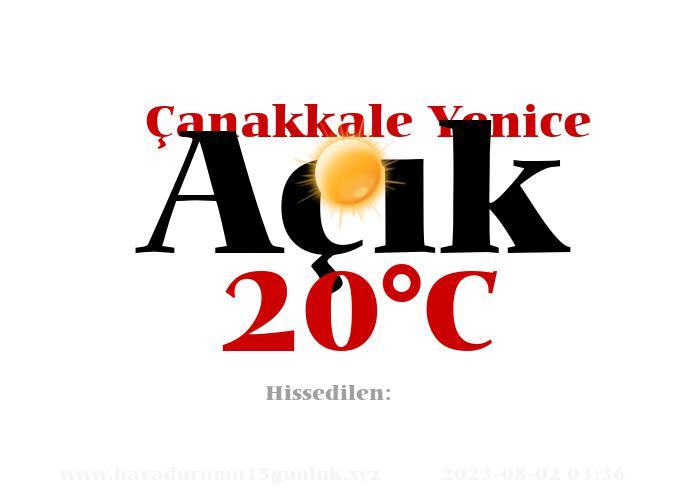 Hava Durumu Çanakkale Yenice