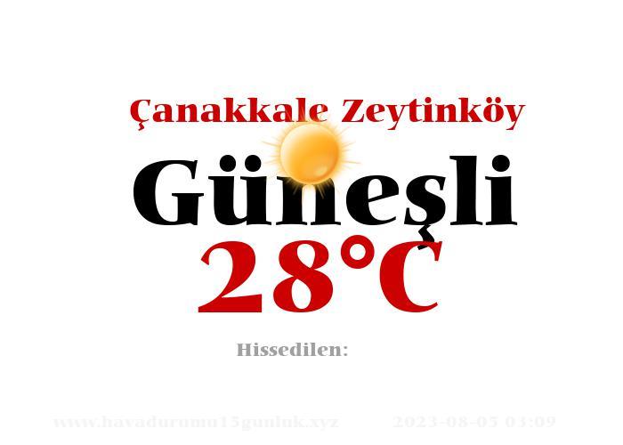 Hava Durumu Çanakkale Zeytinköy