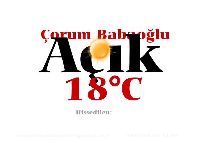 Hava Durumu Çorum Babaoğlu