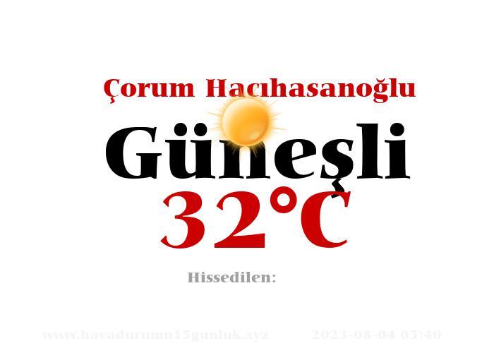 Hava Durumu Çorum Hacıhasanoğlu
