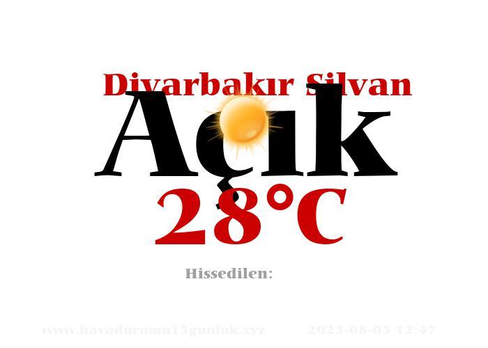 Hava Durumu Diyarbakır Silvan