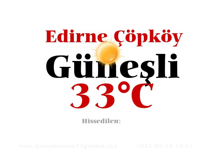 Hava Durumu Edirne Çöpköy