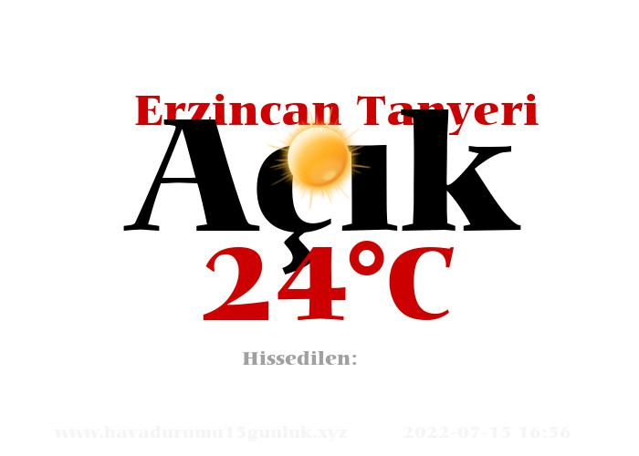 Hava Durumu Erzincan Tanyeri