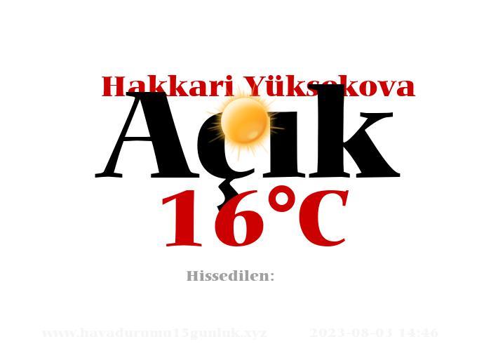Hava Durumu Hakkari Yüksekova
