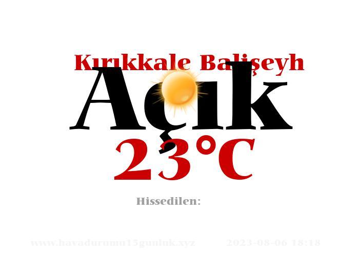 Hava Durumu Kırıkkale Balişeyh