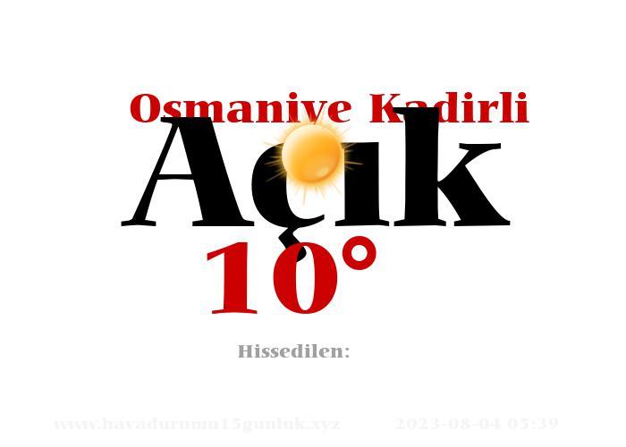 Osmaniye Kadirli Hava Durumu